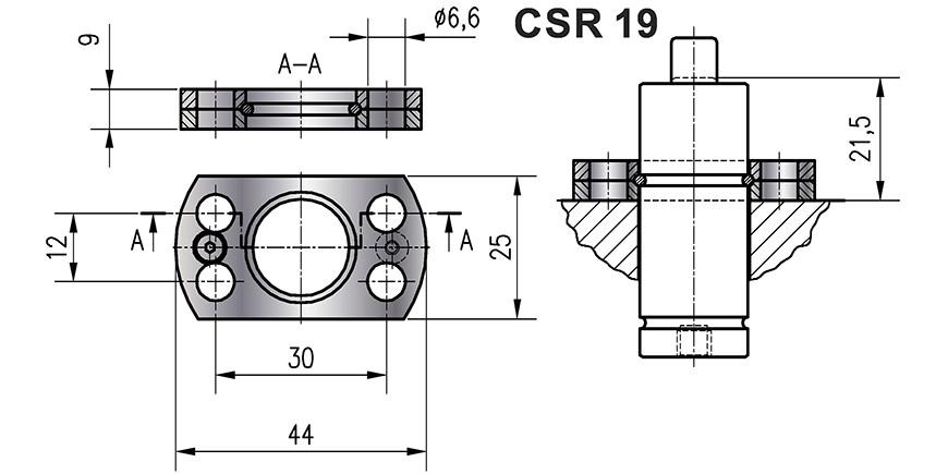 FIXATION POUR RESSORT A GAZ CSR 25